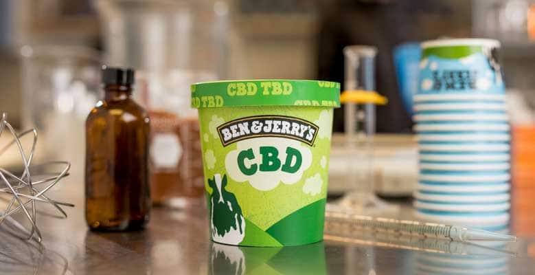 "Ben & Jerry's pint that says ""CBD"" on the front."