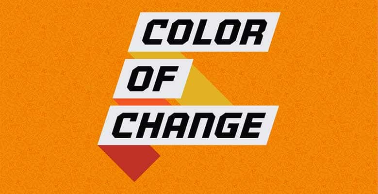 Color of Change logo on an orange background