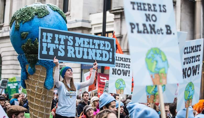Ben & Jerry's at the 2014 NYC climate march; if it's melted, it's ruined!