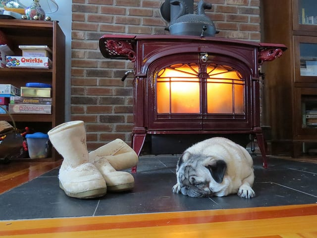 A dog and slippers keeping warm in front of a pot belly stove
