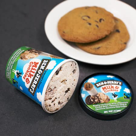 A Pint of Ben & Jerry's Milk & Cookies with a plate of cookies