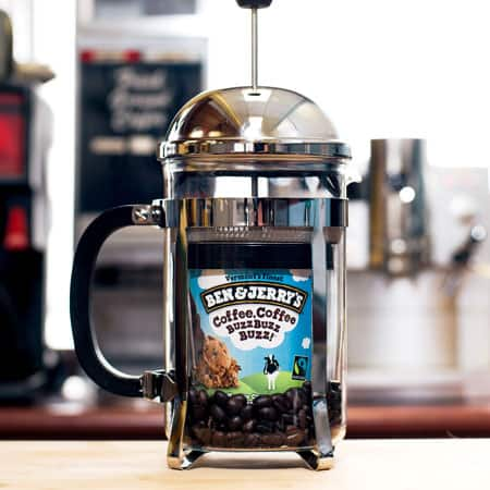 A Pint of Ben & Jerry's Coffee, Coffee BuzzBuzzBuzz! inside a coffee pot