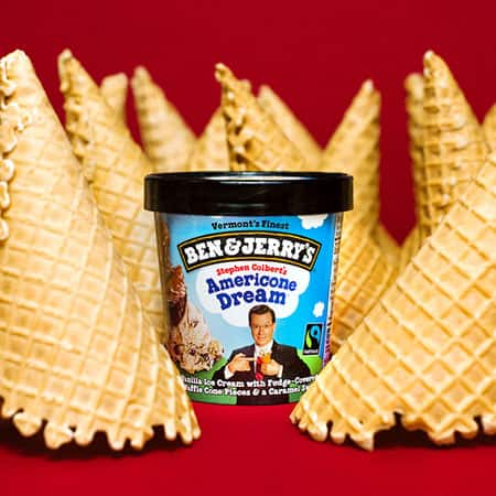 a Pint of Ben & Jerry's Americone Dream™ with waffle cones around it