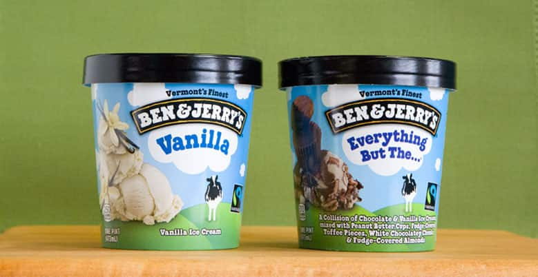 Pints of Ben and Jerry's Vanilla and Everything but the...