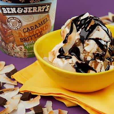 Ben & Jerry's Caramel Almond Brittle Non-Dairy with dark chocolate and toasted coconut