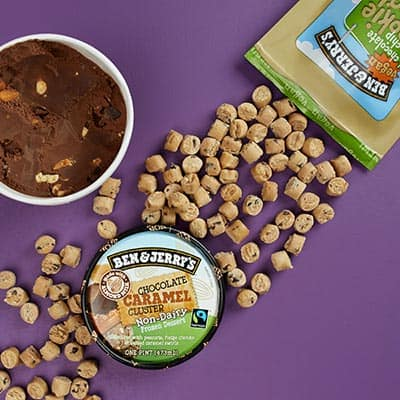 Ben & Jerry's Chocolate Caramel Cluster Non-Dairy with Vegan Chocolate Chip Cookie Dough Chunks