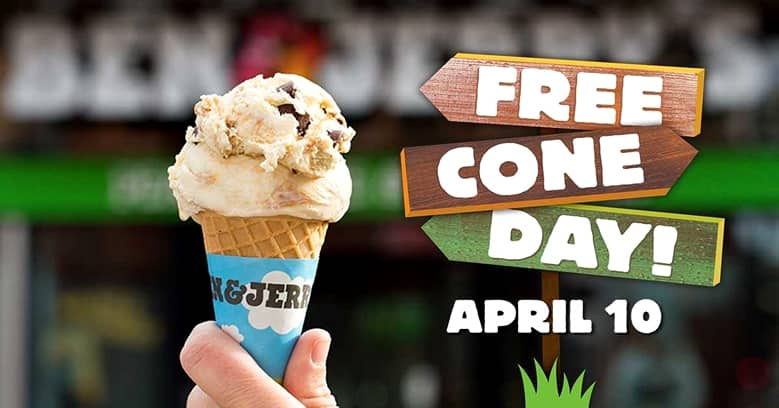 Ben & Jerry's Free Cone Day April 10, 2018!