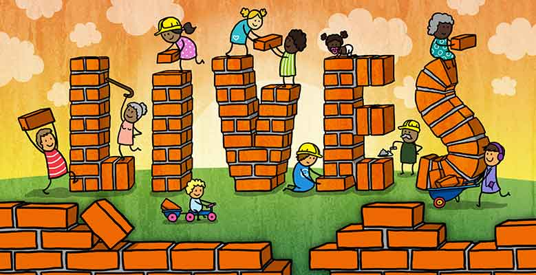 Illustration of people building the letters LIVES with bricks