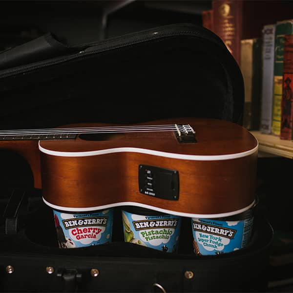 Ben & Jerry's Ice Cream inside a violin case