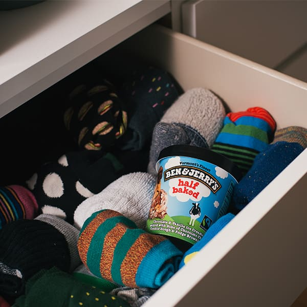 Ben & Jerry's Ice Cream hiding in your sock drawer