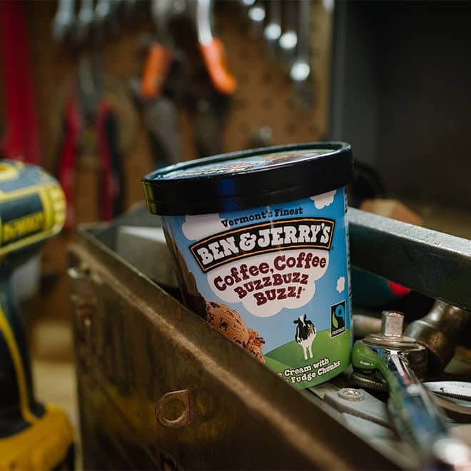 Ben & Jerry's Ice Cream in a tool box