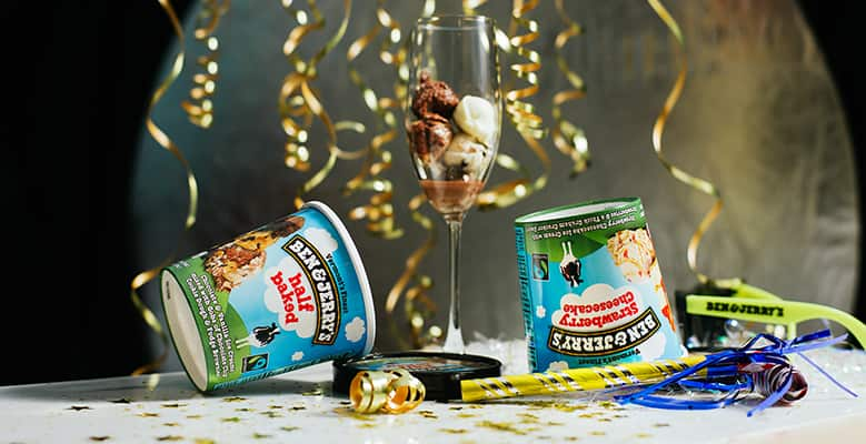 Streamers, Pints of Ben & Jerry's and champagne glass