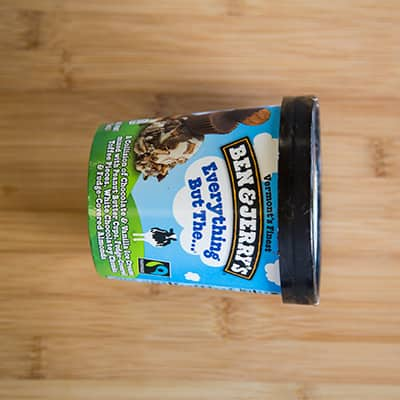 A Picture of a pint of Ben & Jerry's ice cream on its side