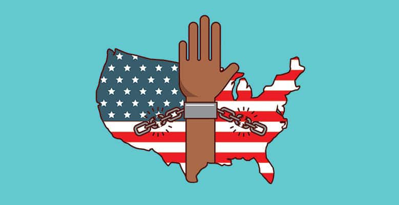 Illustration of the USA with hands breaking free from handcuffs
