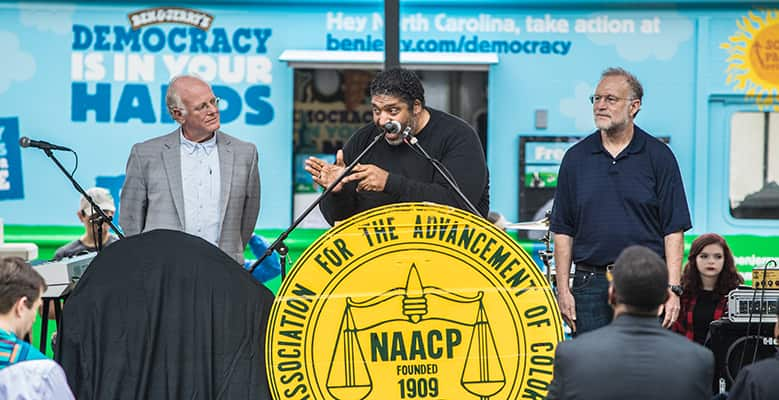 Rev. William Barber speaks at the launch of Ben & Jerry's Empower Mint flavor in North Carolina.
