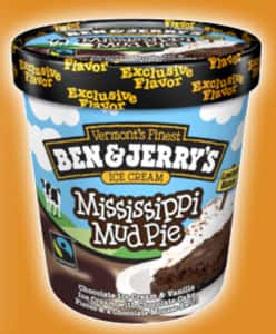 A pint of Ben & Jerry's mississippi mud pie Ice Cream