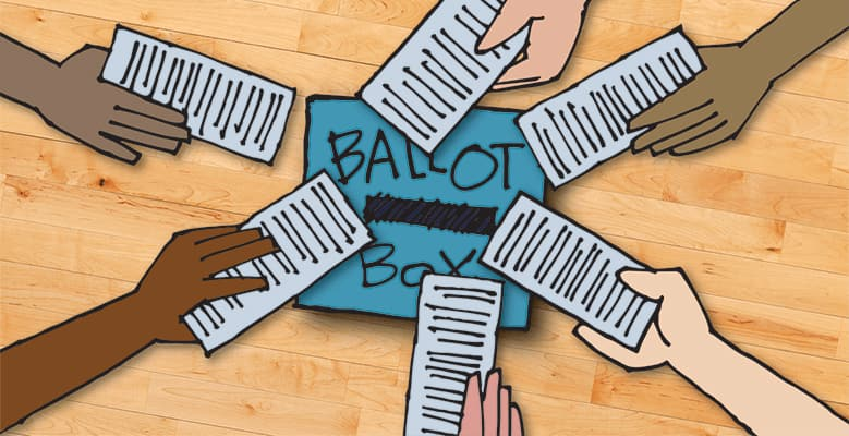 Cartoon of a ballot box