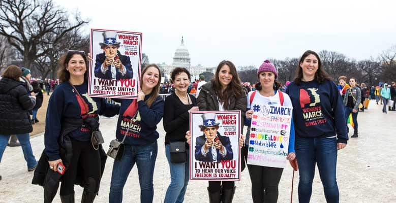 Marchers at the 2017 Women's March