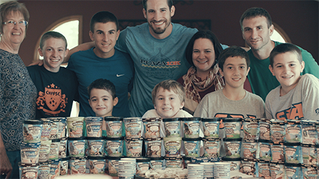 A Picture of the Bauer Family with Pints Of Ben & Jerry's