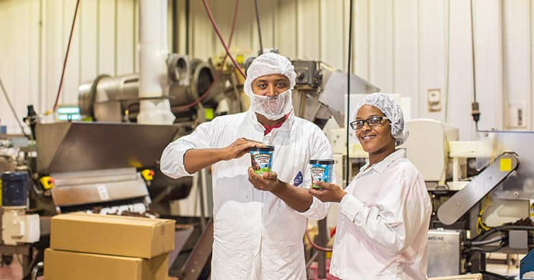 Bakers at Greyston Bakery showing pint of Ben & Jerry