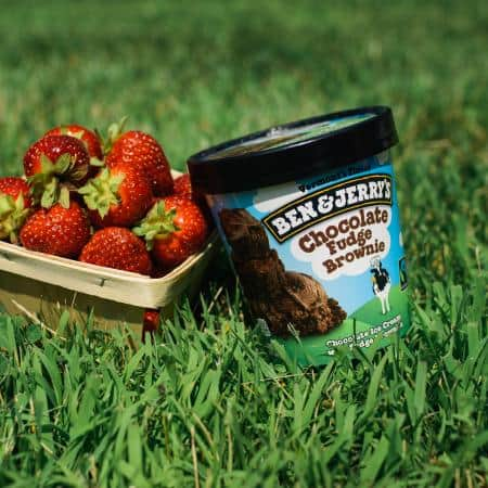 A pint of Ben & Jerry's Chocolate Fudge Brownie with a bushel of strawberries in the grass