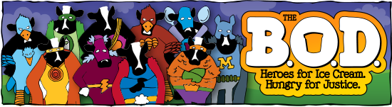 Cows dressed as heros on The BOD Heroes poster