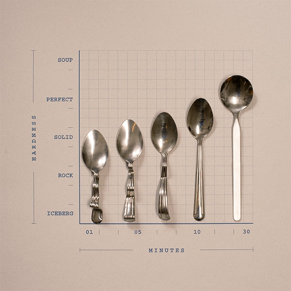A graph showing different stages of Ben & Jerry's Ice Cream Hardness and the times that it would take for it to melt to be perfect for your spoon.
