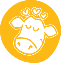 Decorative icon of a cow with hearts above its head
