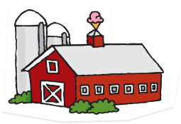 Illustration of red barn as factory